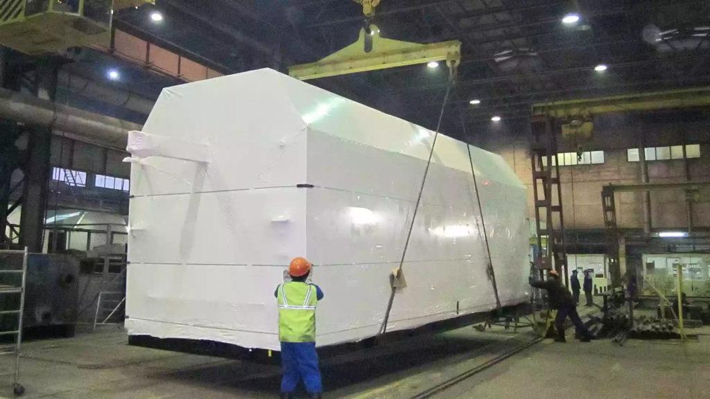 Упаковка блочно-модульного нефтегазового оборудования в термоусадку