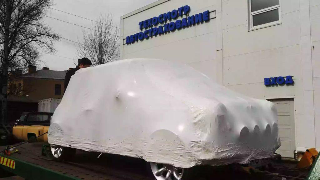 Упаковка автомобиля в промышленную термоусадочную пленку FastPack