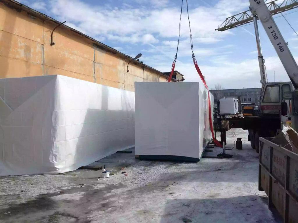Упаковка модульных зданий производилась при температуре -14 градусов