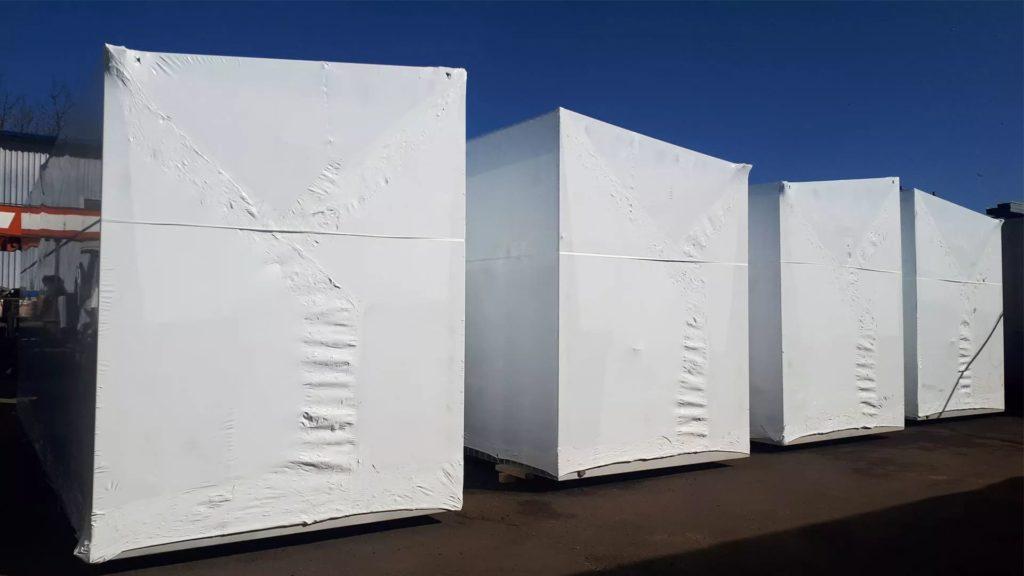 Упаковка негабаритного оборудования котельной в промышленную термоусадочную пленку