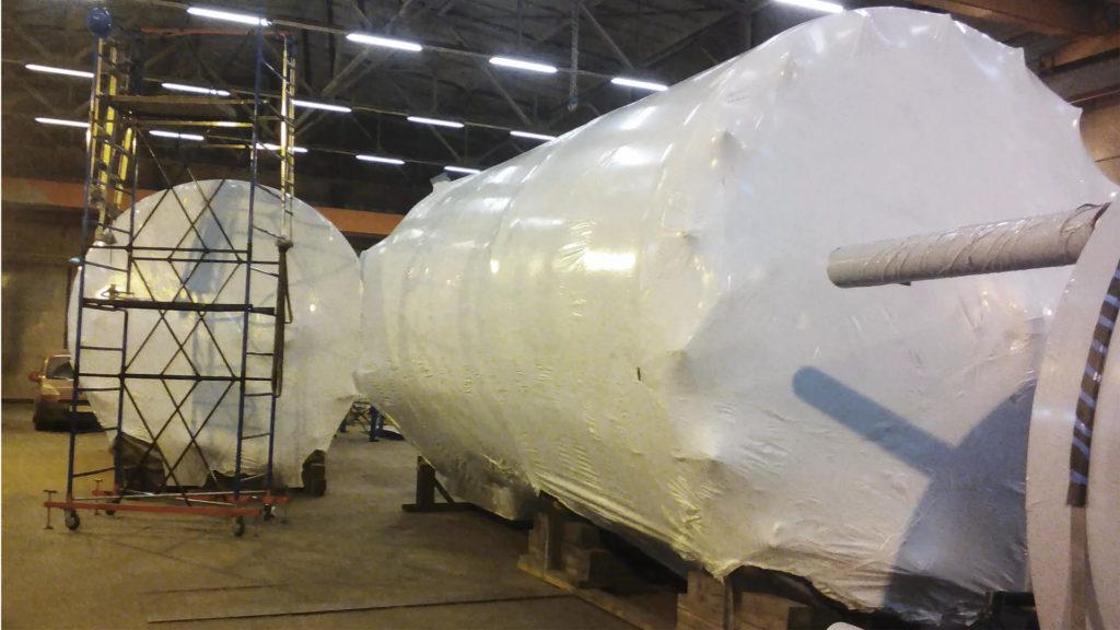 Упаковка технологического оборудования теромусадочной пленки 190 микрон