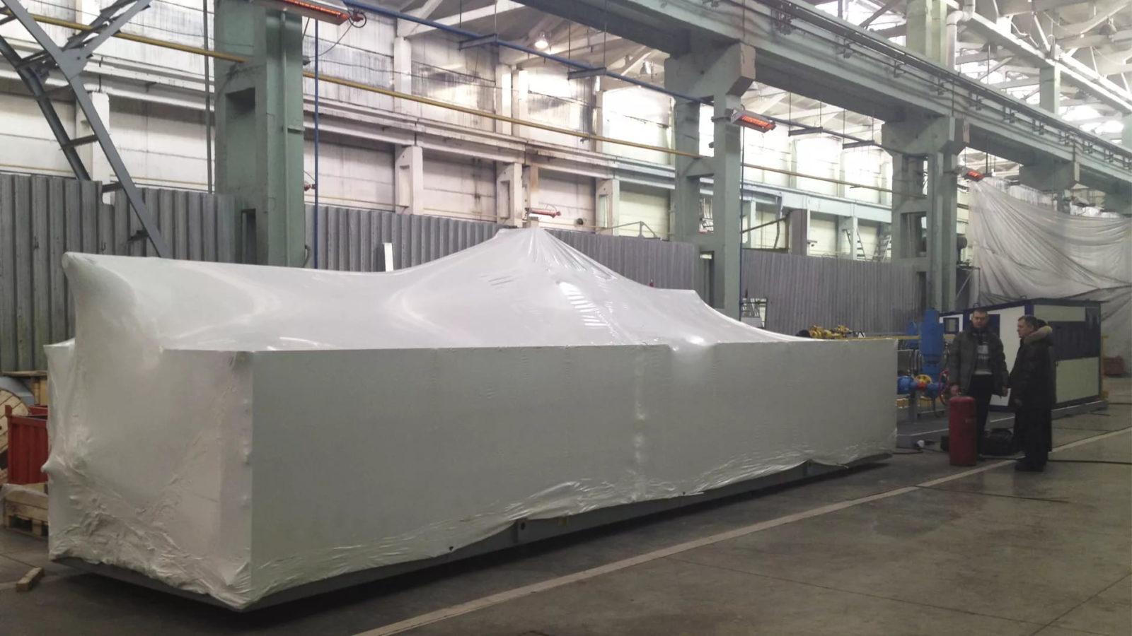 Упаковка нефтегазового оборудования в термоусадочную пленку